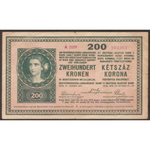 HUNGARY 200 Korona 1918