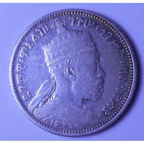 ETHIOPIA 1/4 Birr EE1889 AG