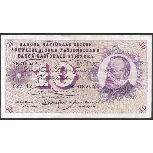 SWITZERLAND 10 Franken 1968