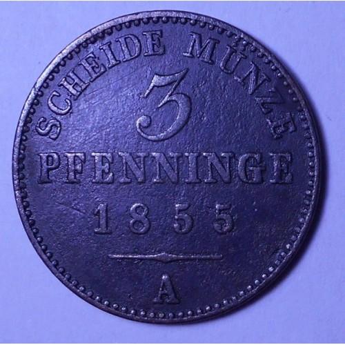 PRUSSIA 3 Pfennig 1855 A