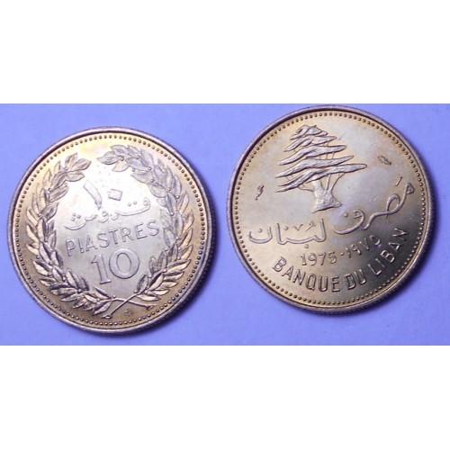 LEBANON 10 Piastres 1975