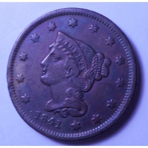 USA 1 Cent 1841 Braided Hair