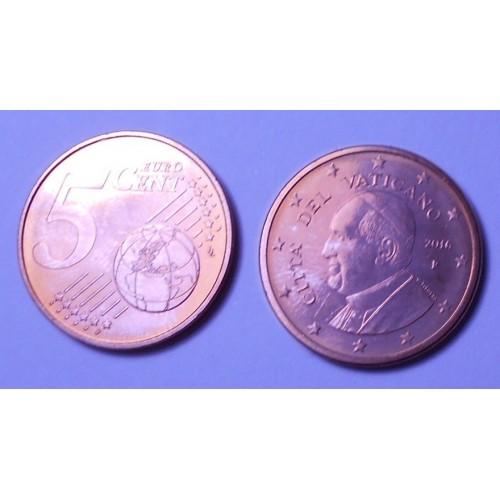 VATICANO 5 Euro Cent 2016