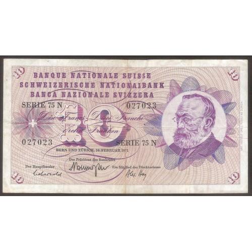 SWITZERLAND 10 Franken 1971