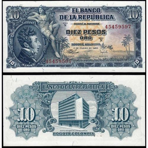 COLOMBIA 10 Pesos Oro 1960
