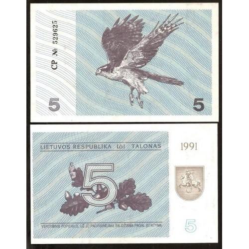 LITHUANIA 5 Talonas 1991