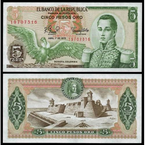 COLOMBIA 5 Pesos Oro 1979