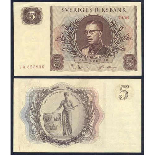 SWEDEN 5 Kronor 1956