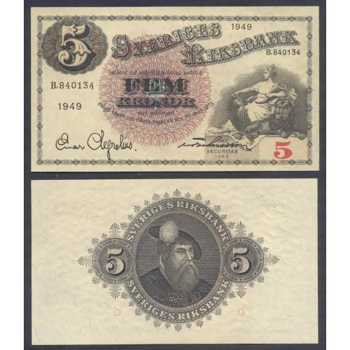 SWEDEN 5 Kronor 1949 Serie B