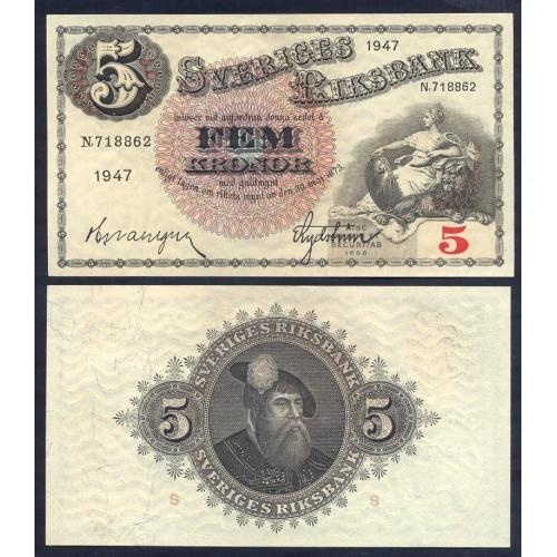 SWEDEN 5 Kronor 1947 Serie N