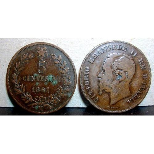 5 Centesimi 1861 M