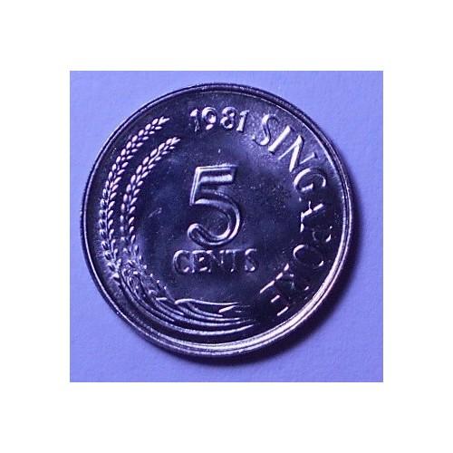 SINGAPORE 5 Cents 1981