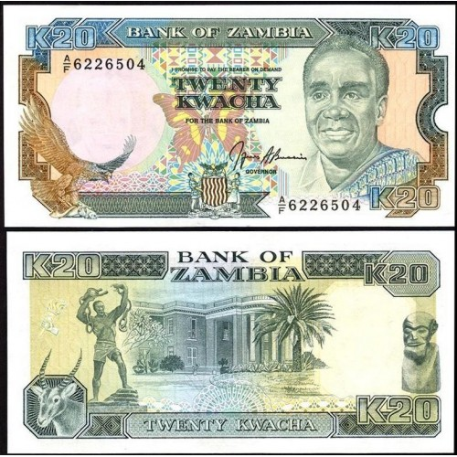 ZAMBIA 20 Kwacha 1989/91