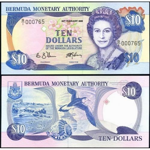 BERMUDA 10 Dollars 1989 Low...