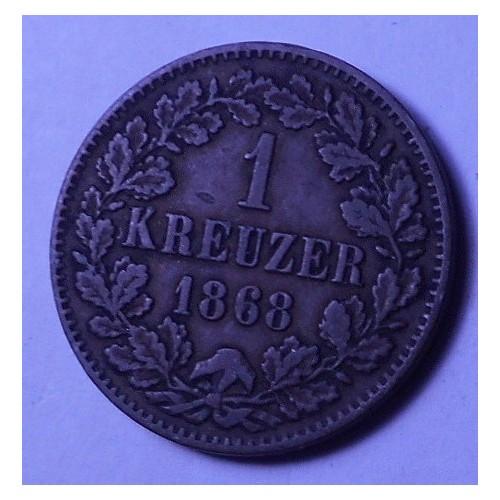 BADEN 1 Kreuzer 1868