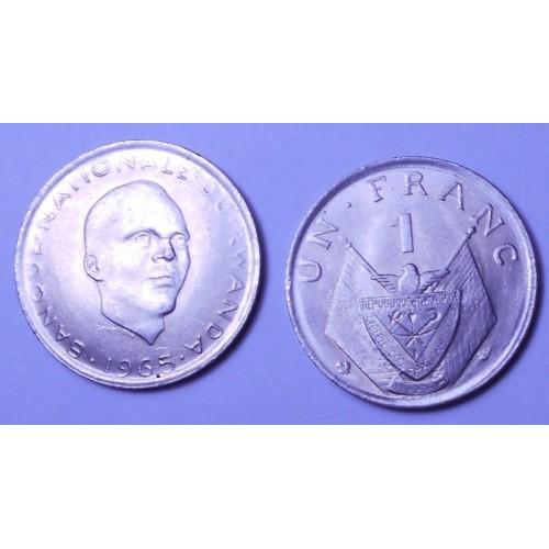 RWANDA 1 Franc 1965...
