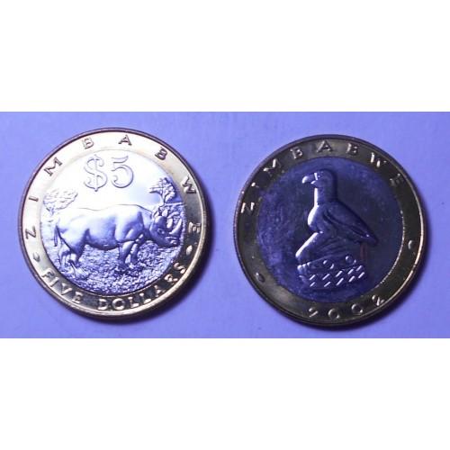 ZIMBABWE 5 Dollars 2002...