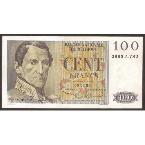 BELGIUM 100 Francs 09.04.1953
