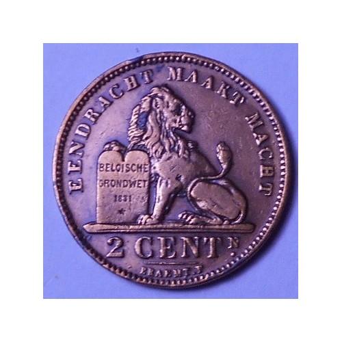 BELGIUM 2 Centimes 1902 Der...