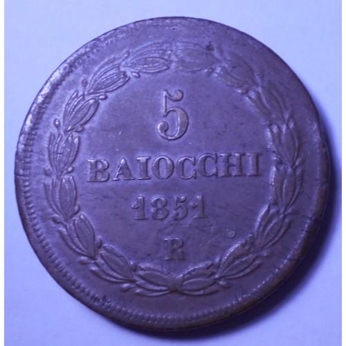 PIO IX 5 Baiocchi 1851 R...