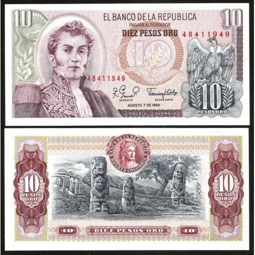 COLOMBIA 10 Pesos Oro...