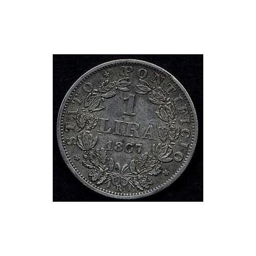 PIO IX 1 LIRA 1867 A.XXII