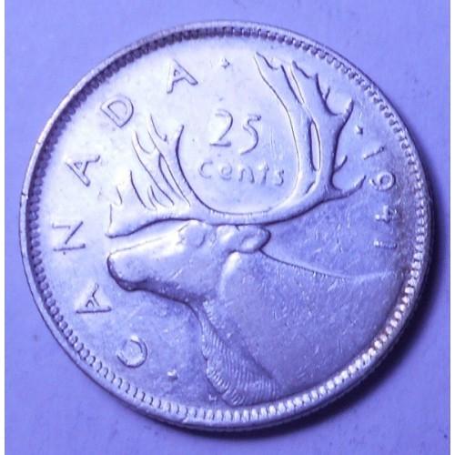 CANADA 25 Cents 1941 AG...