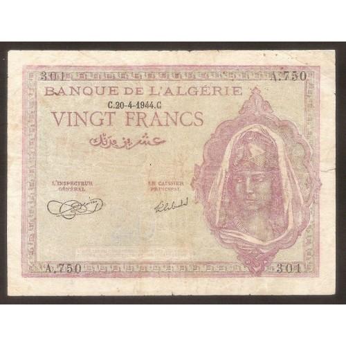 ALGERIA 20 Francs 1944