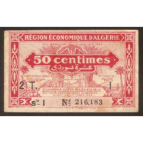 ALGERIA 50 Centimes 1944