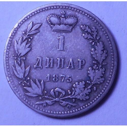 SERBIA 1 Dinar 1875 AG Milan I