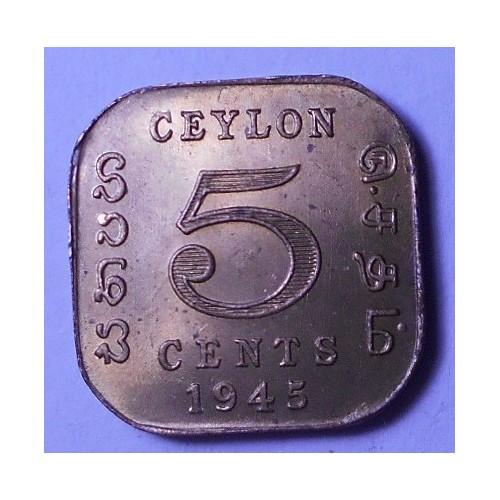 CEYLON 5 Cents 1945