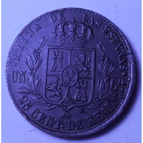 SPAIN 25 Centimos 1855...