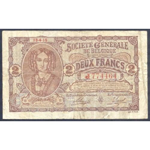 BELGIUM 2 Francs 1915