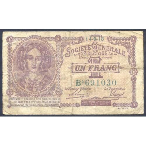 BELGIUM 1 Franc 1918