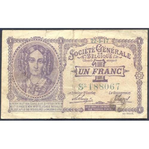 BELGIUM 1 Franc 1917