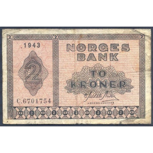 NORWAY 2 Kroner 1943