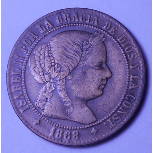 SPAIN 2 1/2 Centimos 1868...