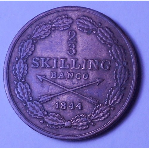 SWEDEN 2/3 Skilling 1844
