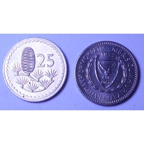 CYPRUS 25 Mils 1977