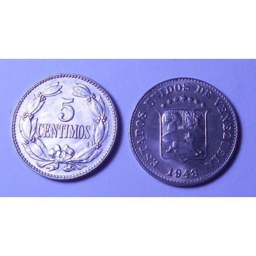VENEZUELA 5 Centimos 1948