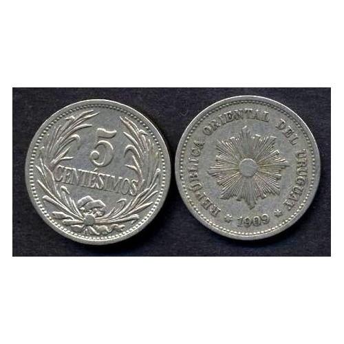 URUGUAY 5 Centesimos 1909