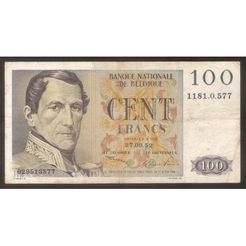 BELGIUM 100 Francs 1952