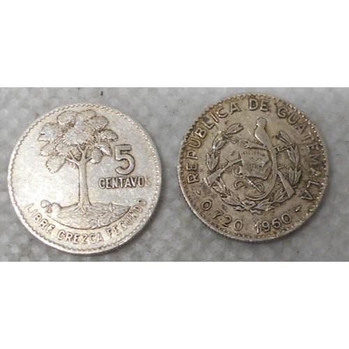 GUATEMALA 5 Centavos 1960 AG