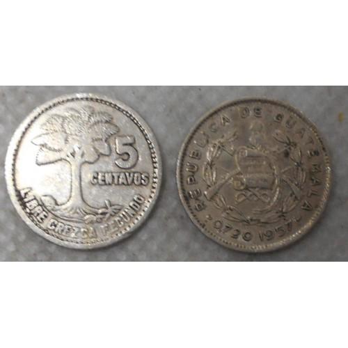 GUATEMALA 5 Centavos 1957 AG