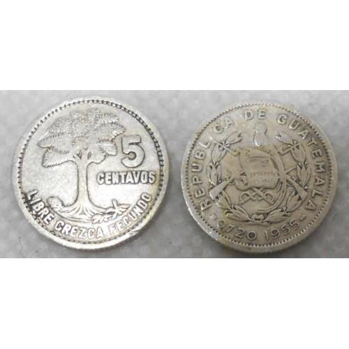 GUATEMALA 5 Centavos 1955 AG