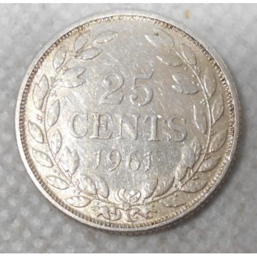 LIBERIA 25 Cents 1961 AG