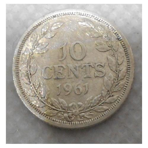 LIBERIA 10 Cents 1961 AG