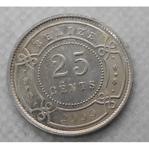 BELIZE 25 Cents 2000