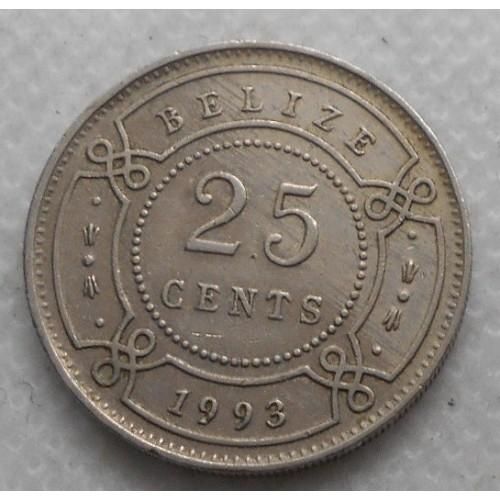 BELIZE 25 Cents 1993