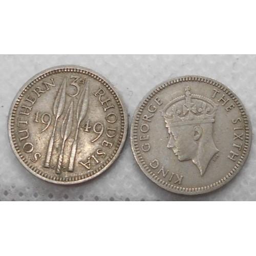 SOUTHERN RHODESIA 3 Pence 1949